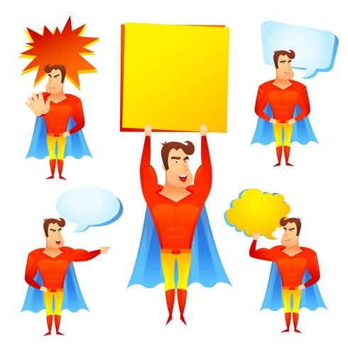 Superhero cartoon character with speech bubbles.