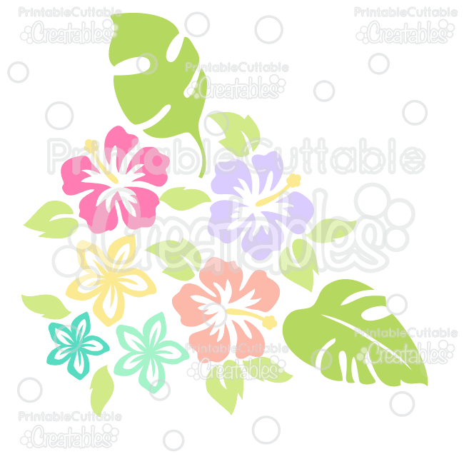 Tropical Flowers Silhouettes Free SVG Cut File & Clipart.