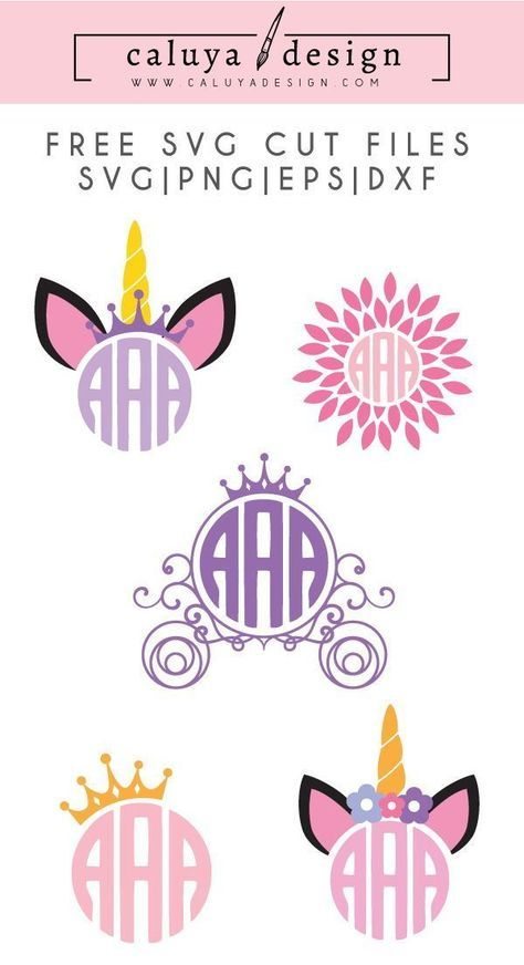 Unicorn Monogram Free SVG, PNG, DXF & EPS by.