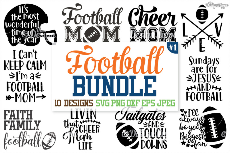 Free Football SVG Bundle, Football Mom Bundle, Mama, SVG, PNG DXF.