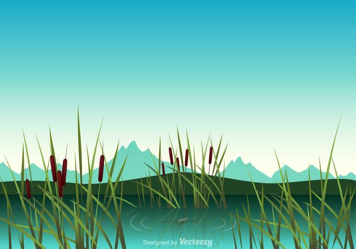 Swamp Vector Illustration.