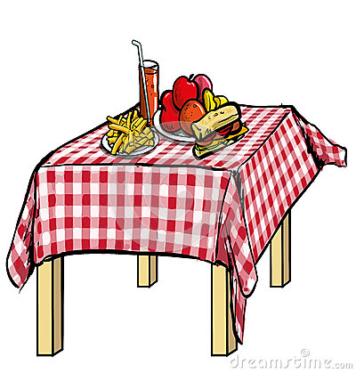 Illustration Of A Picnic Table With Food On It Royalty Free Stock.