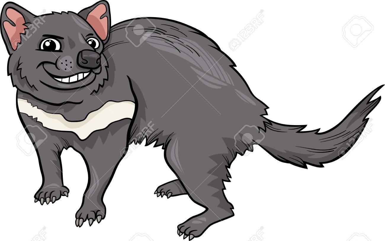 Cartoon Illustration of Funny Tasmanian Devil Marsupial Animal.