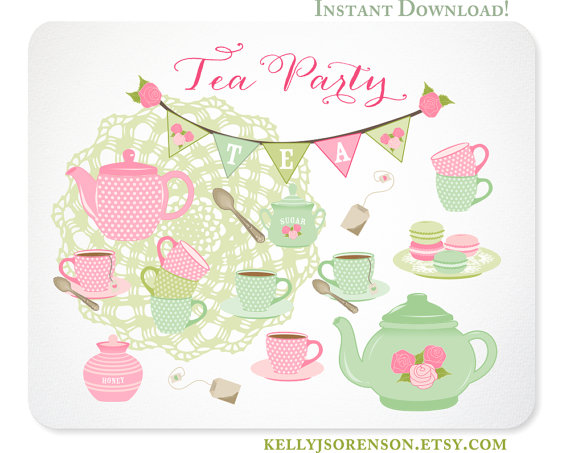 Tea Party Clipart Shabby Chic Doily, Tea Set, Macarons, Bunting by.