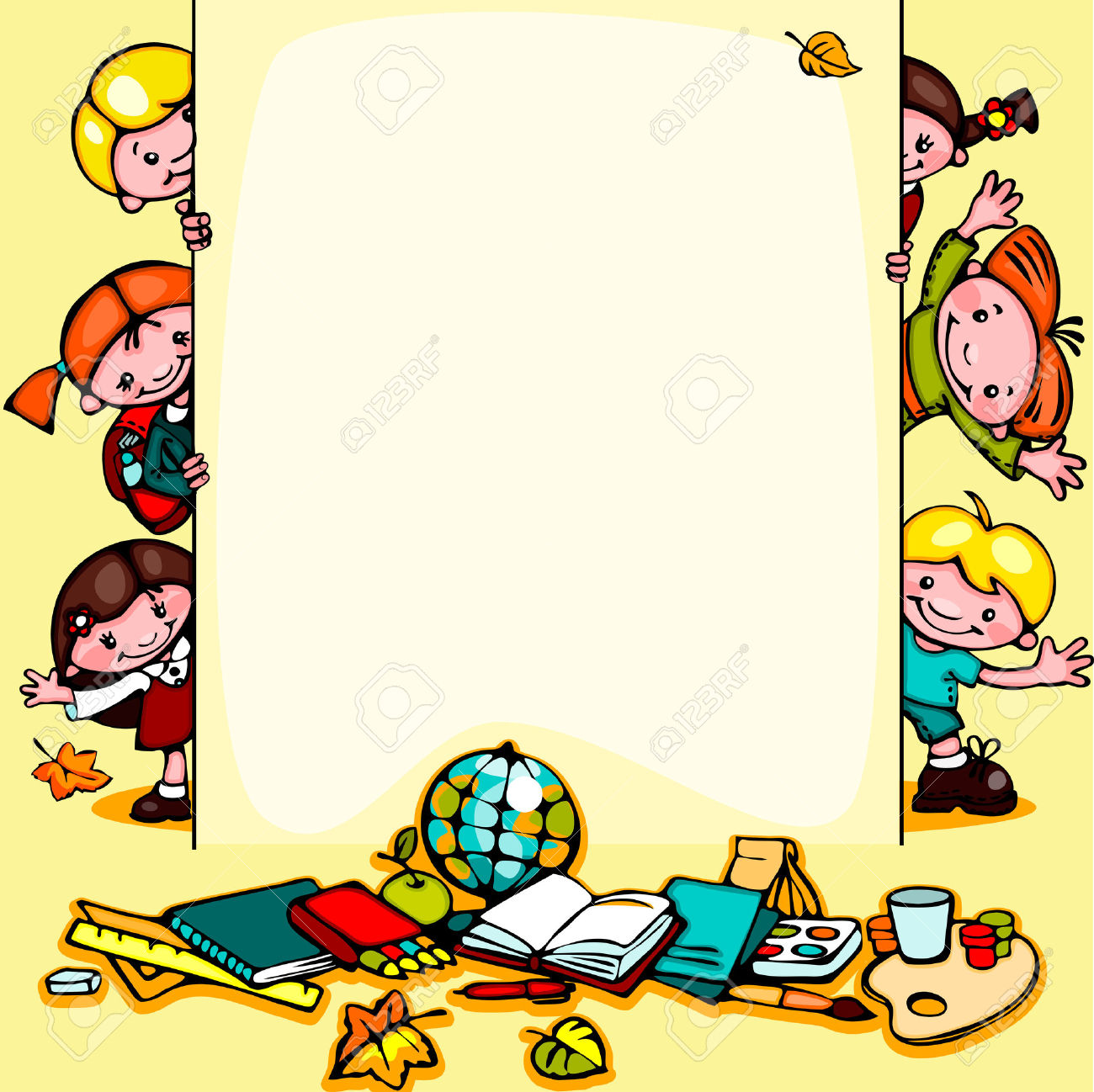 Kids School Yellow Background. Royalty Free Cliparts, Vectors, And.