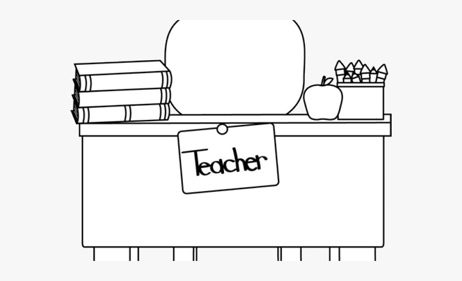 Desk Clipart Classroom Teacher.