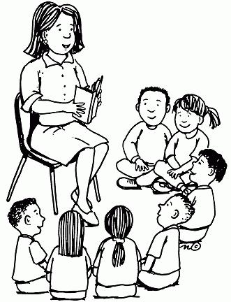 Teacher Reading Clip Art Black And White.