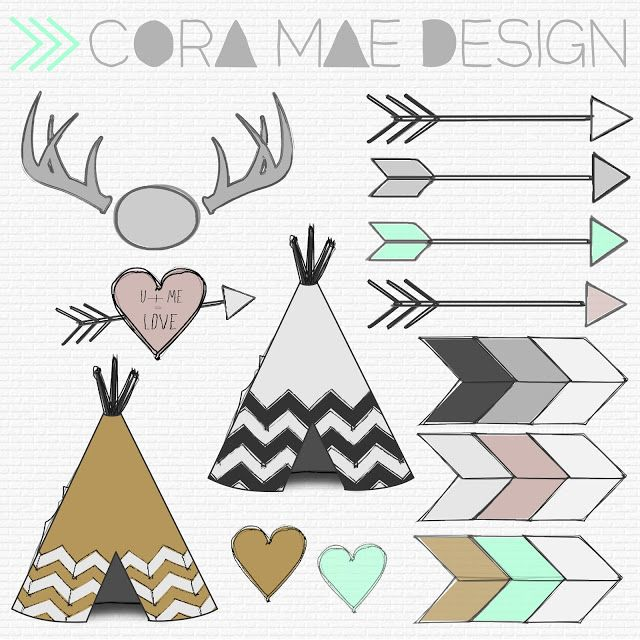 Cora Mae Design: Free TeePee, Antler, Arrow clipart, Tribal.