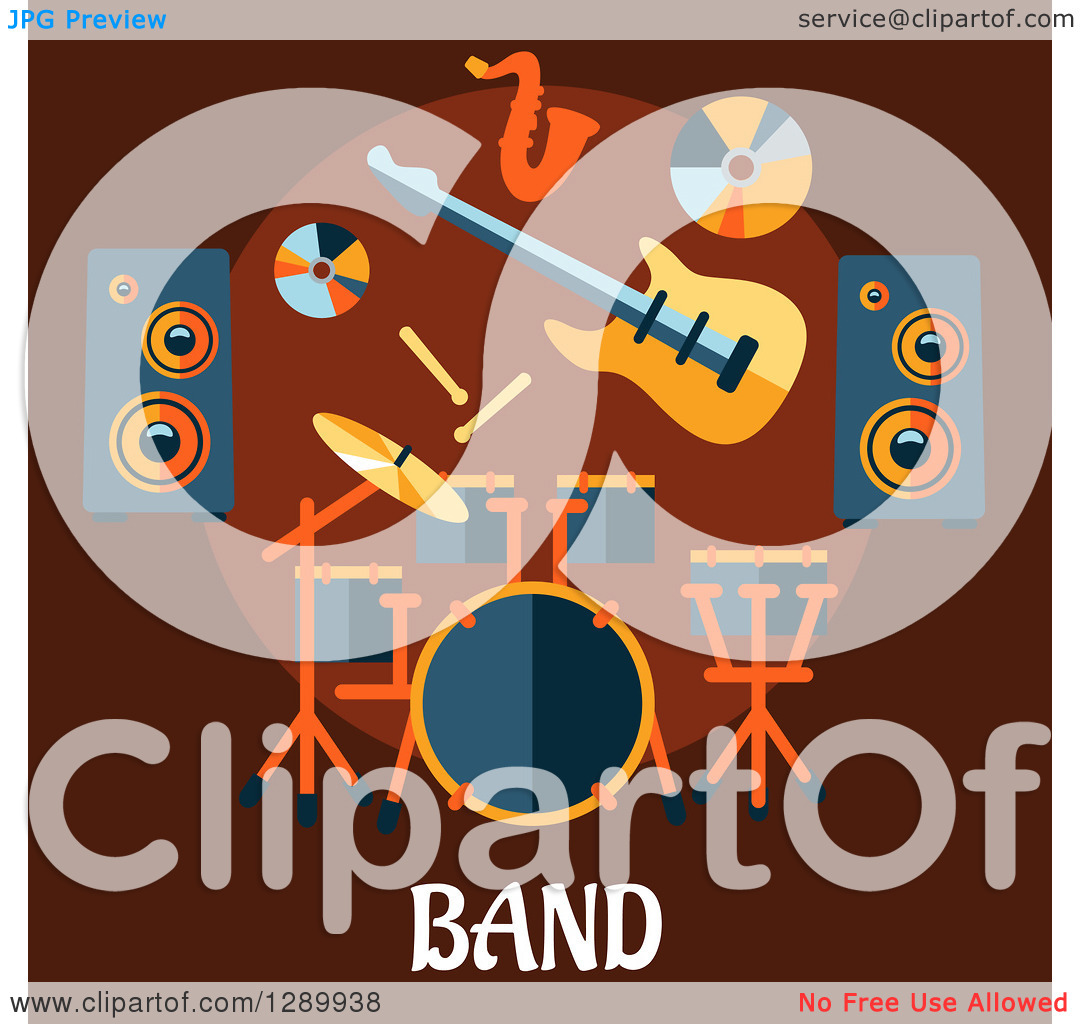 Clipart of a Music Speakers, a Cd, Guitar, Saxophone and Drum Set.