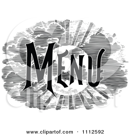 Clipart Vintage Black And White Menu Text 1.