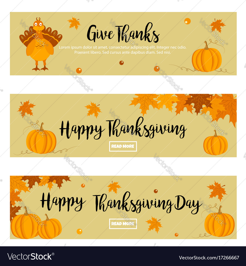 Set of thanksgiving banners with turkey pumpkins.