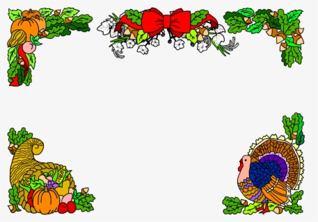 Free Thanksgiving Turkey Borders Clip Art with No Background.