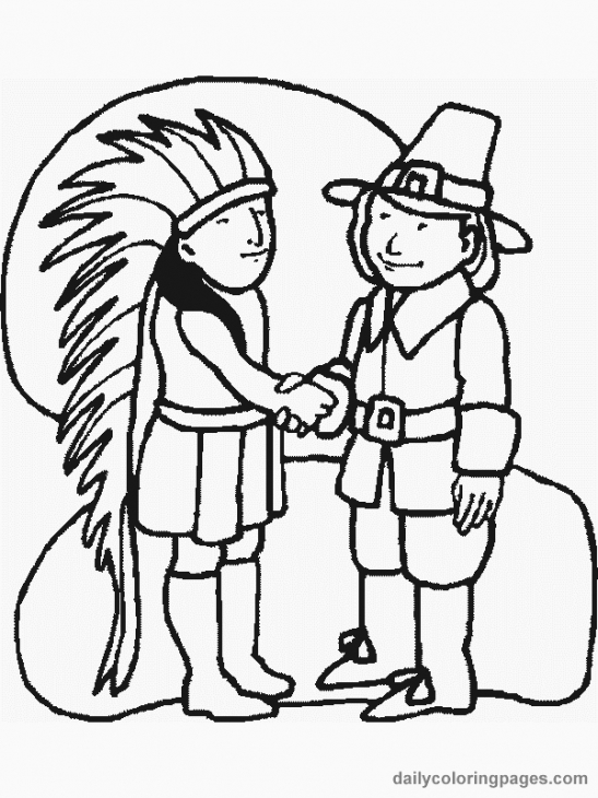 Indian And Pilgrim Make Peace On Thanksgiving Coloring Page Free.