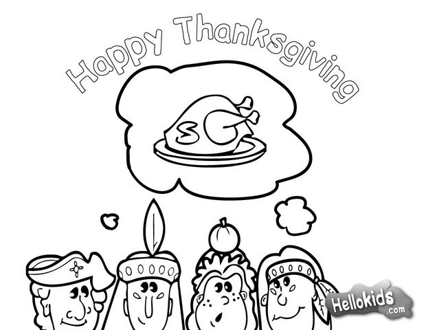 Thanksgiving dinner with indians coloring pages.