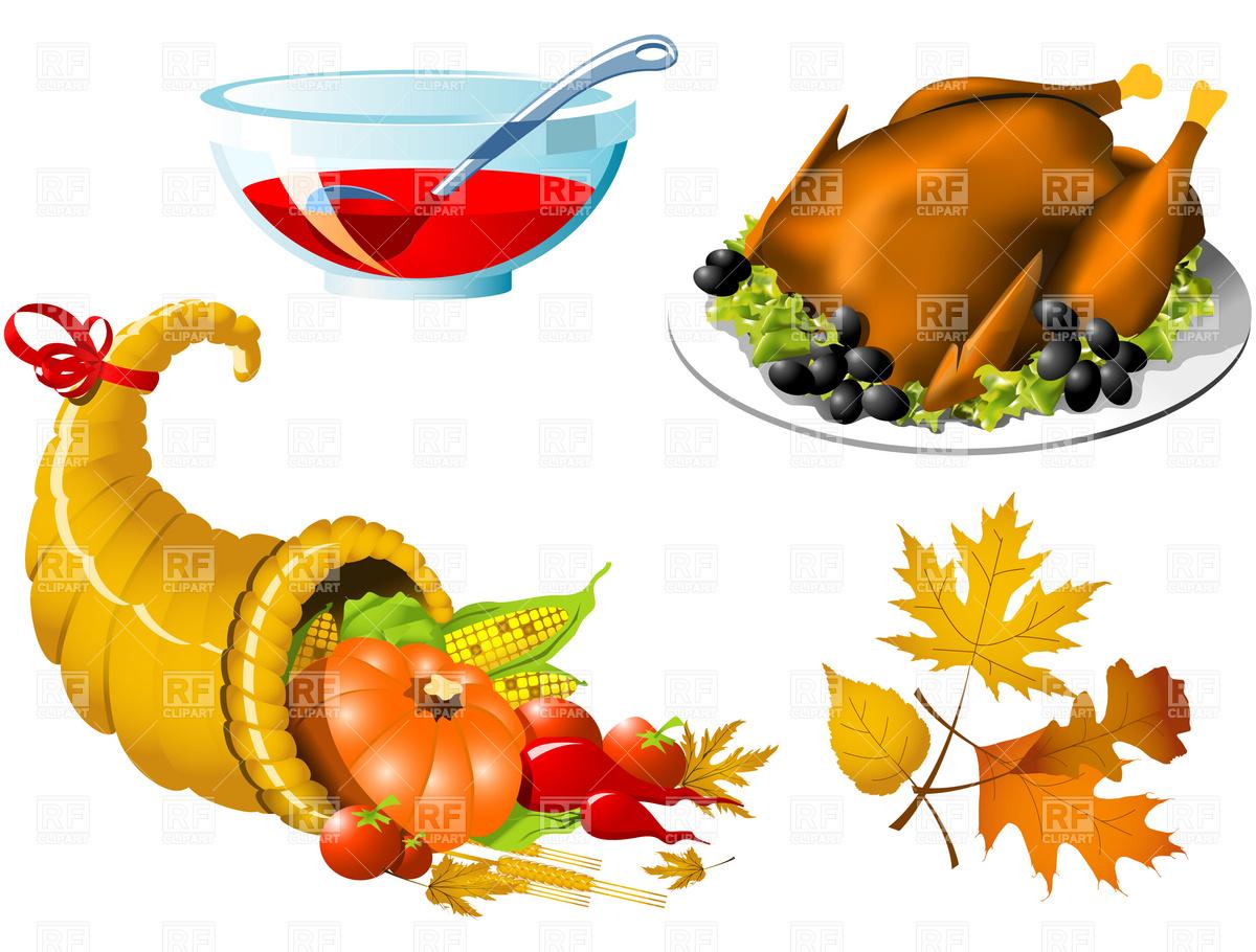Thanksgiving roasted turkey and cornucopia Stock Vector Image.