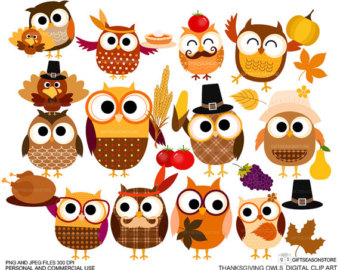 Thanksgiving owls Digital clip.