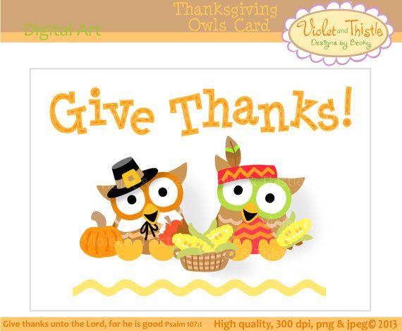 Thanksgiving Card Pilgrim & Indian Owl Clip Art Owl basket of corn.