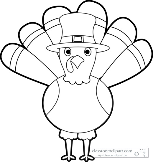 Black And White Thanksgiving Turkey Clipart.