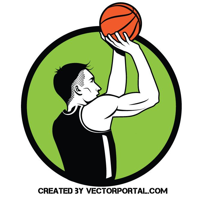 Basketball player free throw vector image in 2019.