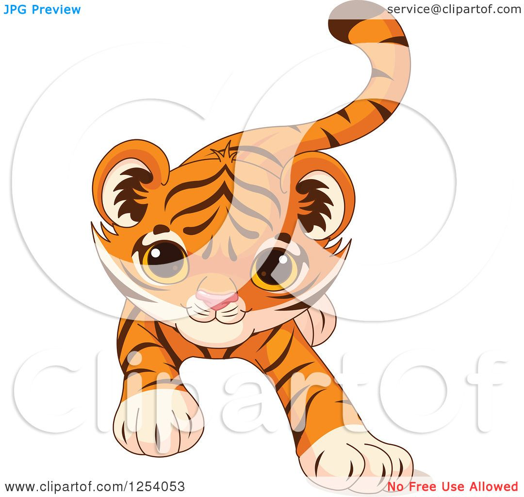 Clipart of a Cute Playful Tiger Cub Stalking.