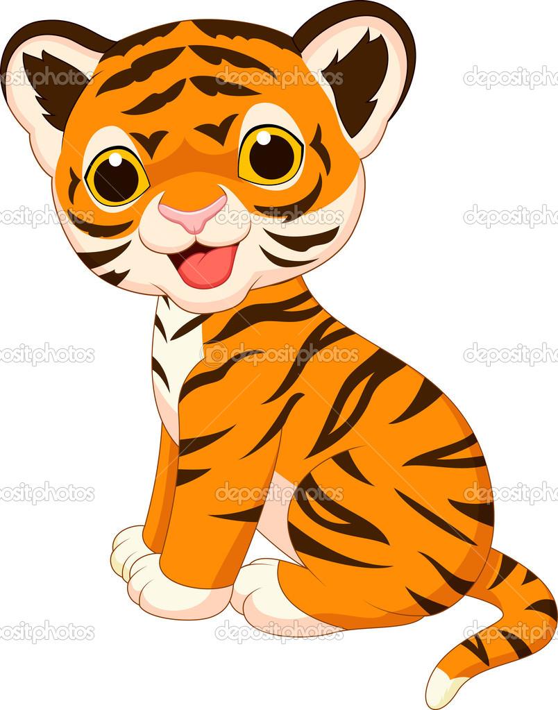 Painted smiling tiger cub free image.