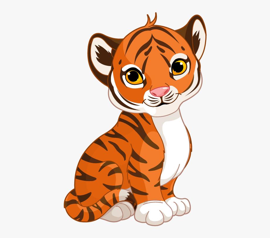 Cute Cartoon Tiger Cub , Transparent Cartoon, Free Cliparts.