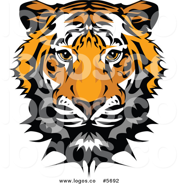 Royalty Free Vector of a Logo of a Cute Tiger Face by Chromaco.