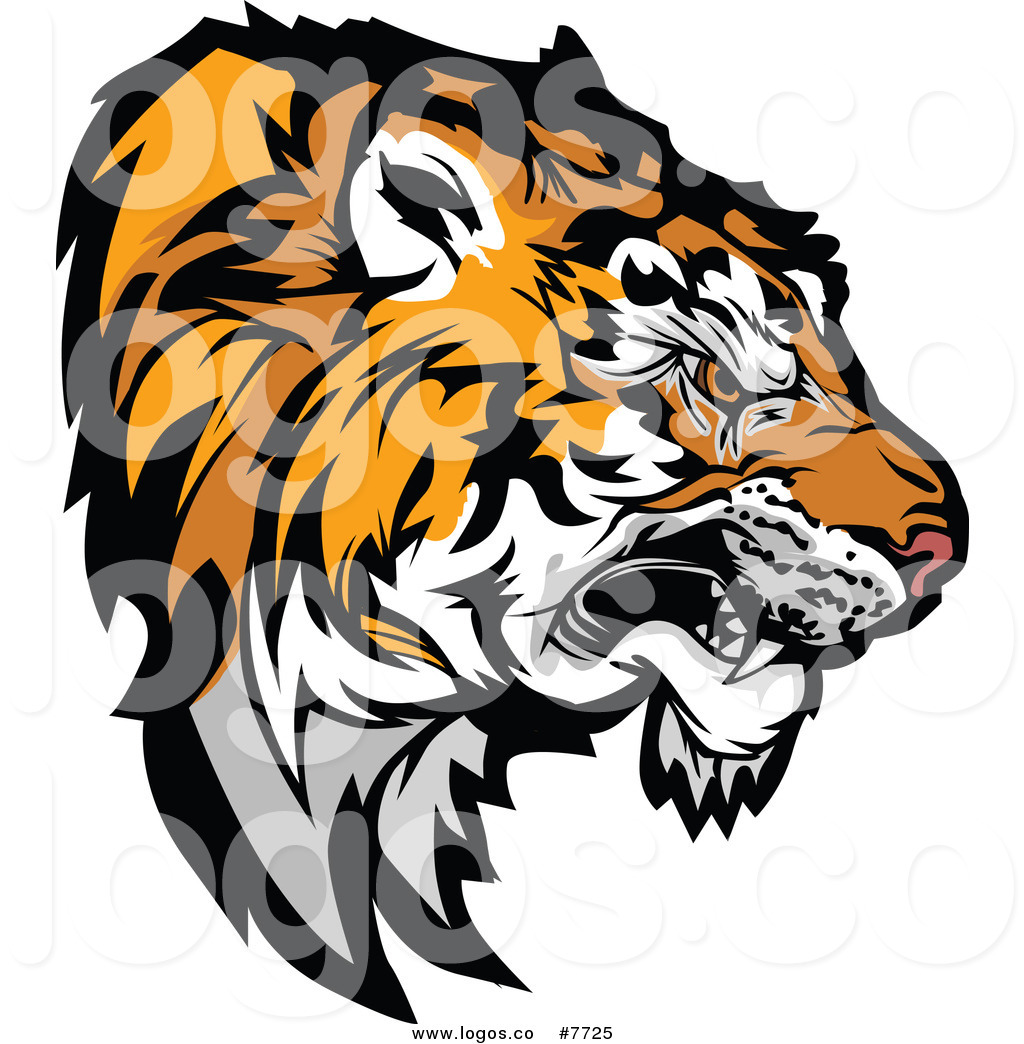 Royalty Free Clip Art Vector Growling Aggressive Tiger Head Logo by.