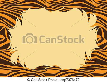 Clip Art of Tiger Fur Print Border.