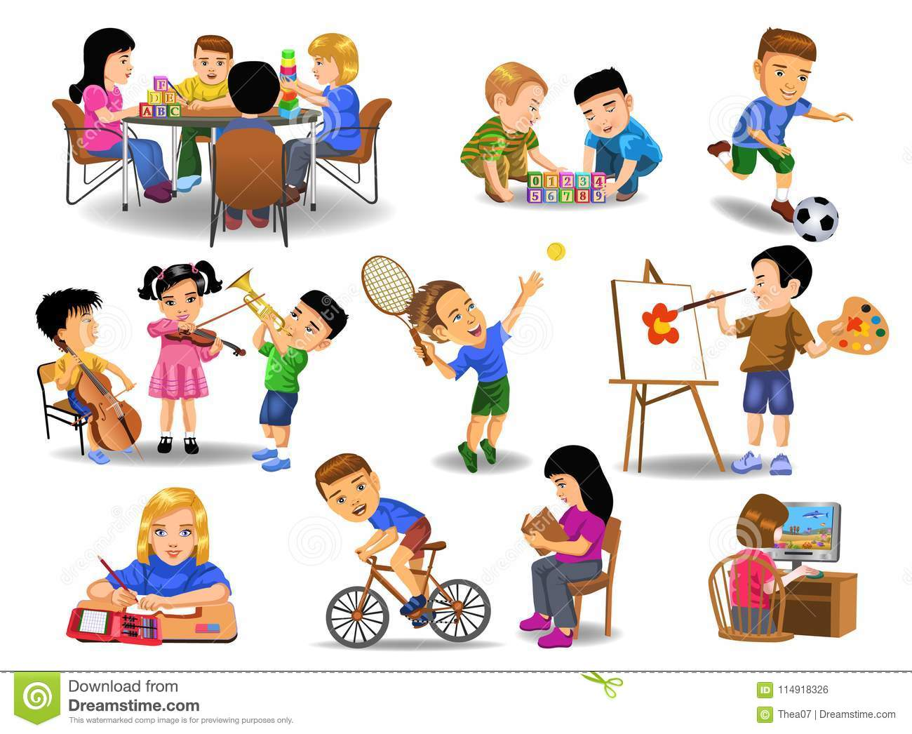 Collection Of Children Doing Different School And Leisure Time.