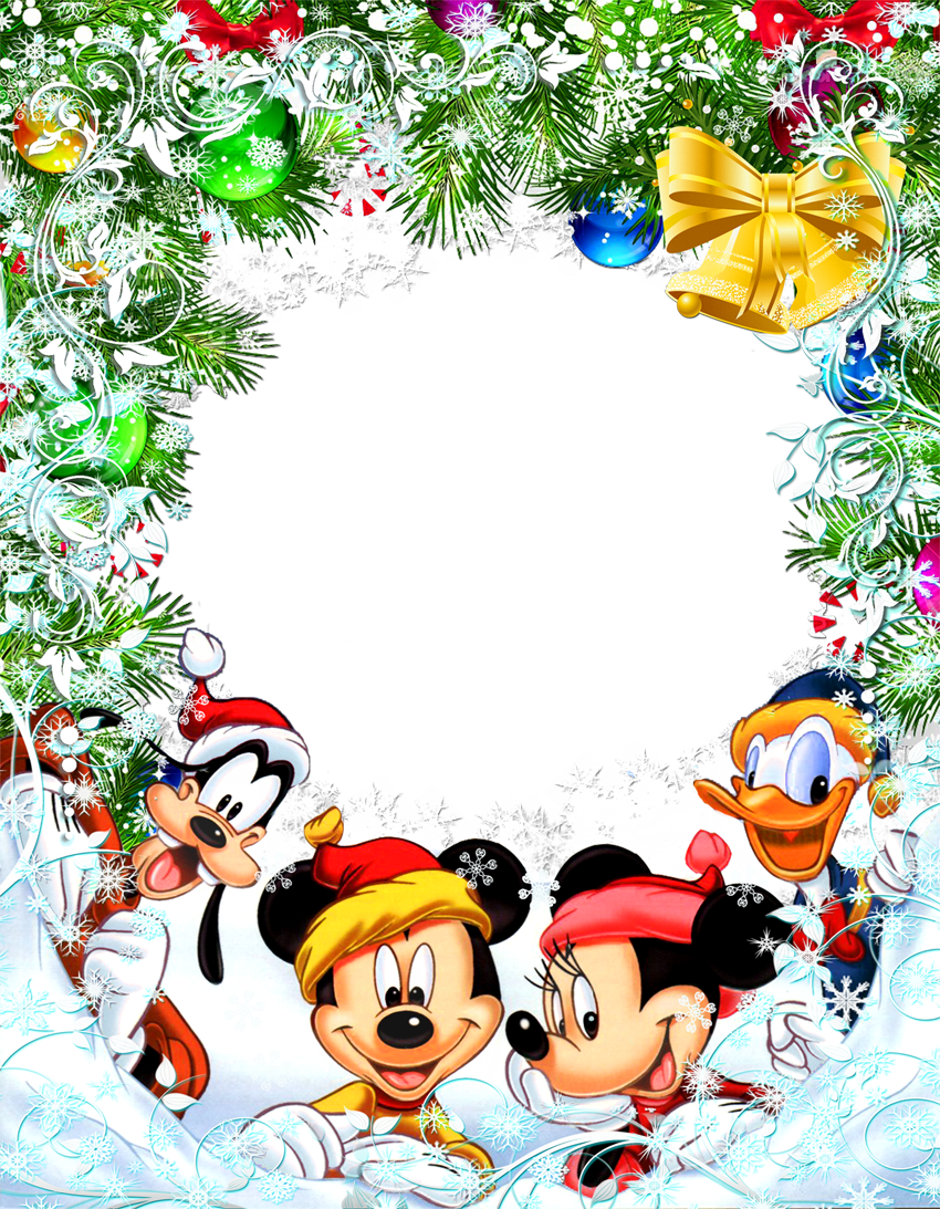 Transparent Christmas Star Frame with Mickey Mouse and Friends.