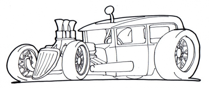 Free Drawing Page Of A Hot Rod Car To Print And Color For Kids.