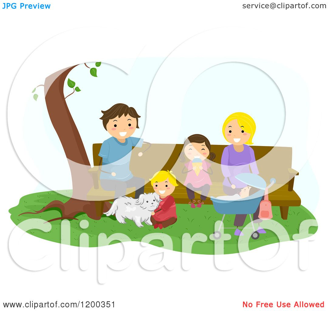 Cartoon of a Happy Family Relaxing at a Park Bench.