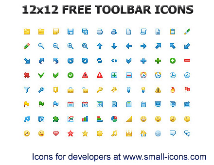 12x12 Free Toolbar Icons with GIF Icons Created Pixel By Pixel.