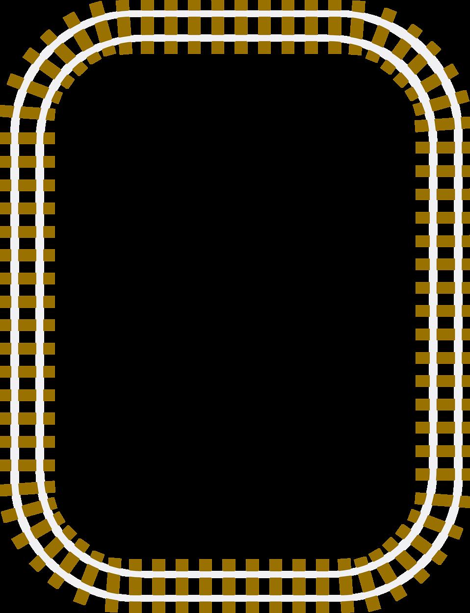 Illustration of a blank railroad track frame border : Free.