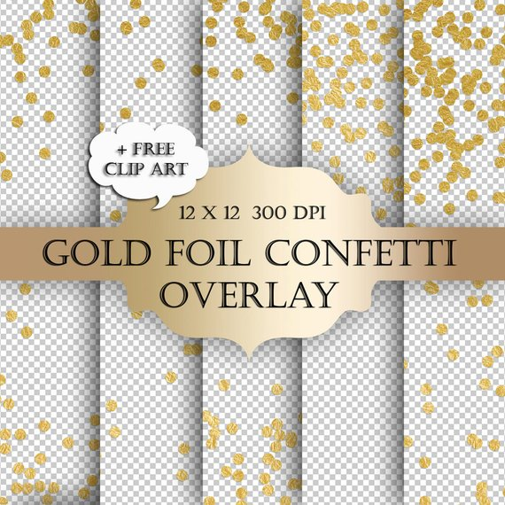 Gold Foil Dot Confetti Digital Clip Art Overlay.