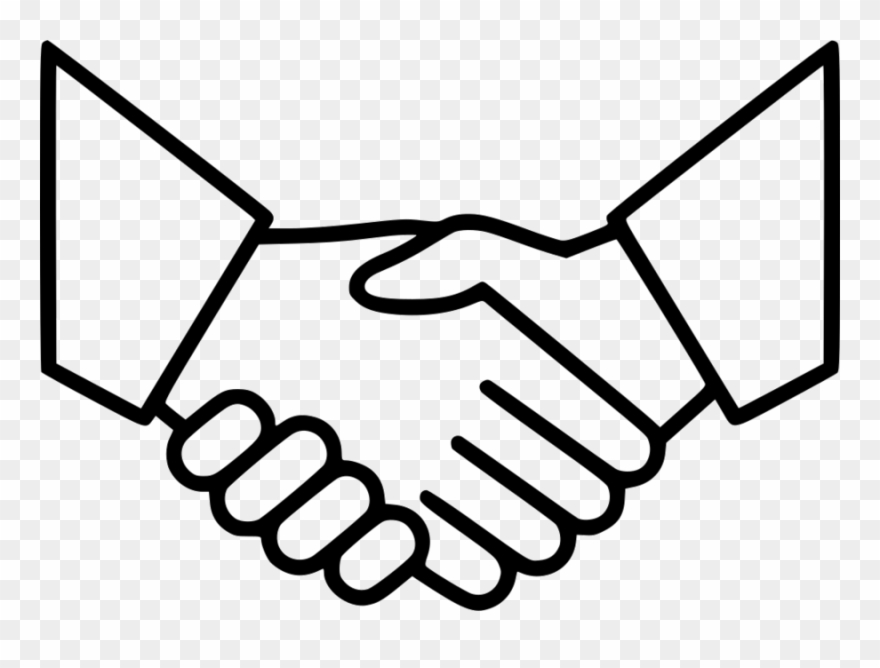 Download Handshake Icon Thin Line Png White Clipart.