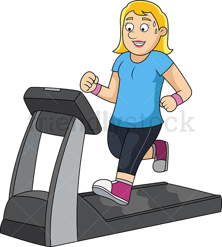 Slim Woman Working Out On Treadmill.