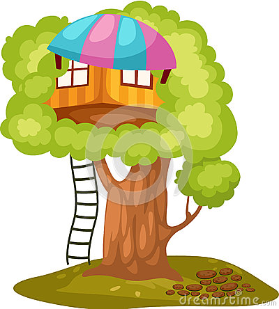 Kid In Treehouse Stock Photography.