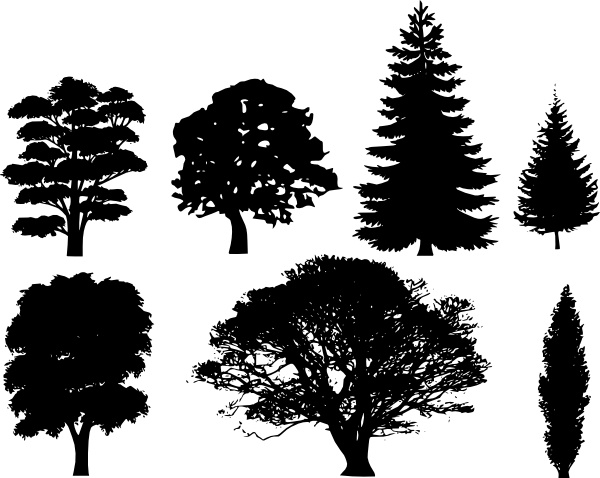 Tree Silhouettes clip art Free vector in Open office drawing svg.