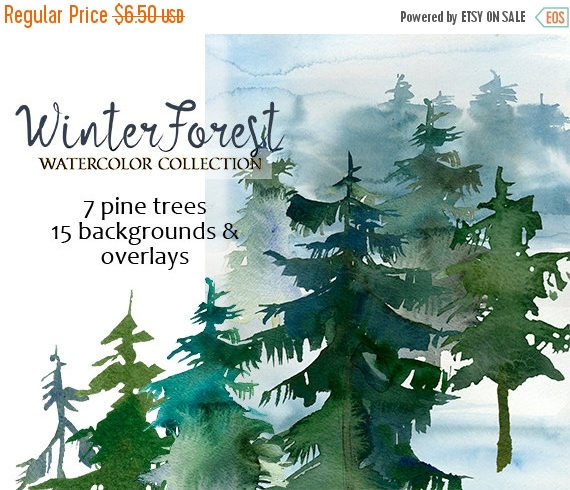 3 days Sale 45%off Pine Trees Watercolor Clipart Fir Trees PNG.