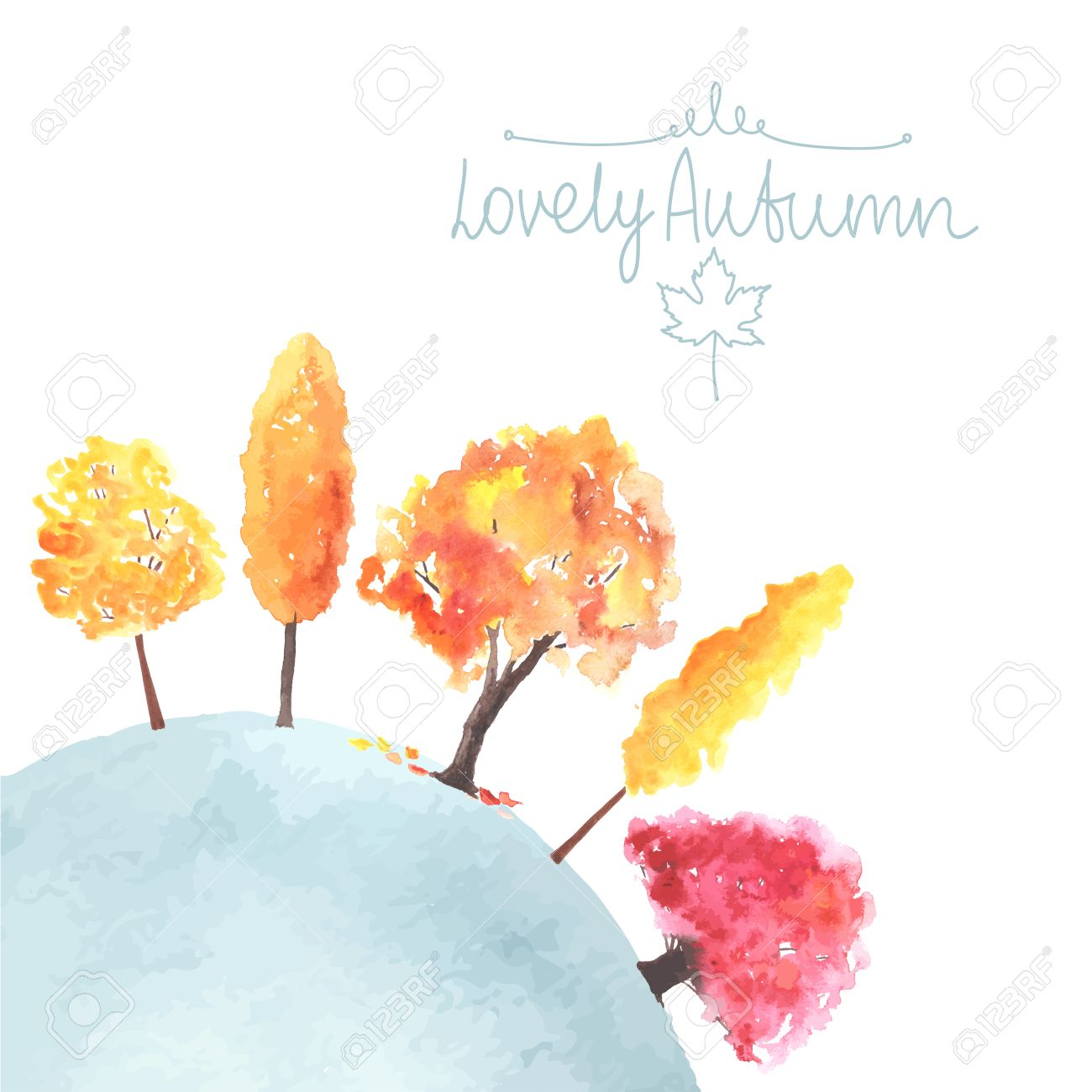 Free Fall Tree Watercolor Clipart.