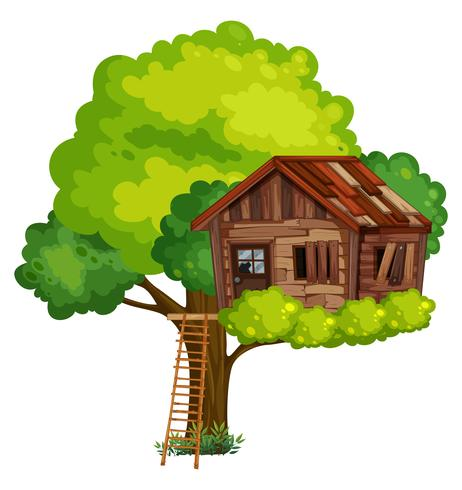Old treehouse made of wood.