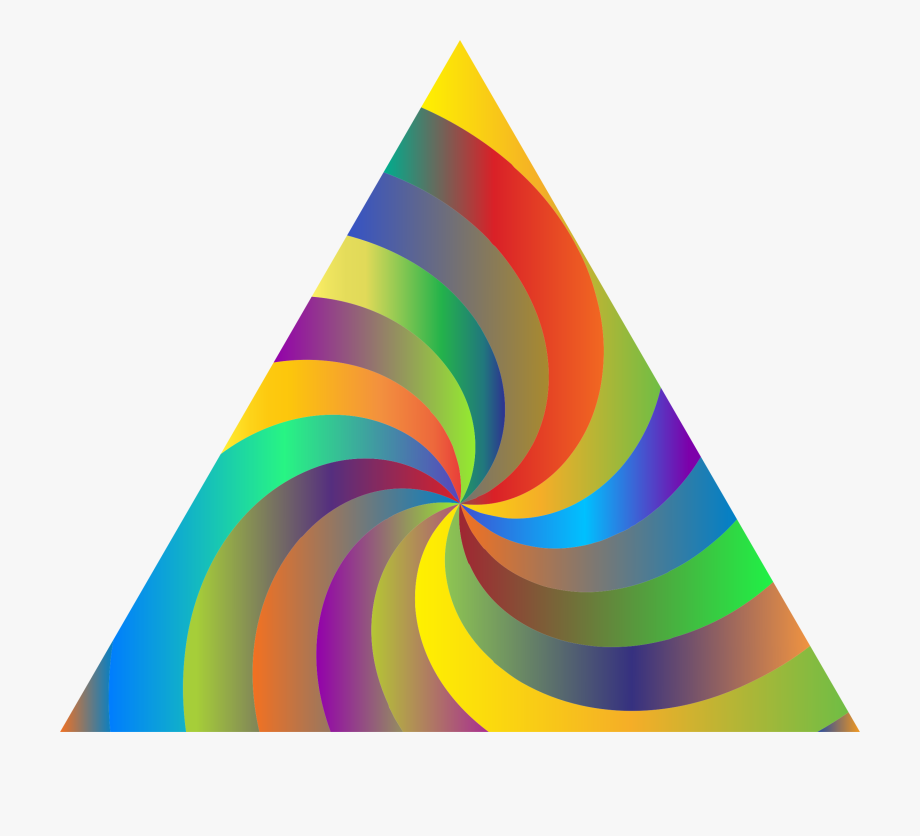Temporary Swirling Prismatic Triangle Vector Clipart.