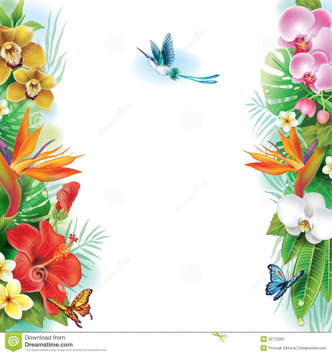 border from tropical flowers leaves â & #128 clipart.