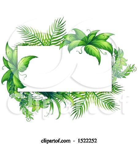 Clipart of a Tropical Foliage Border.