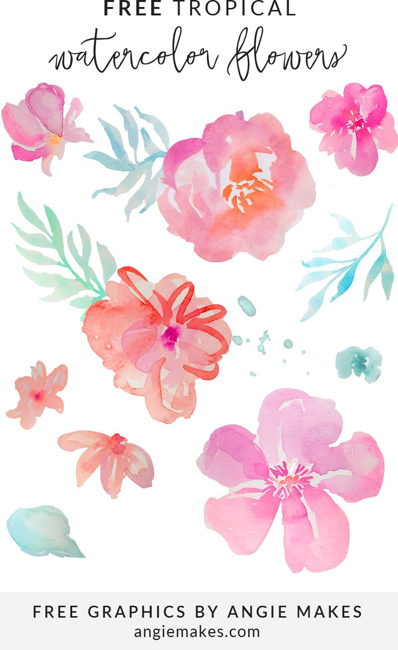 Free Tropical Watercolor Flower Clip Art.