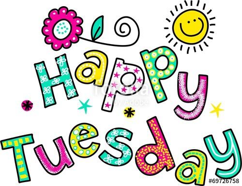 Happy Tuesday Cartoon Text Clipart