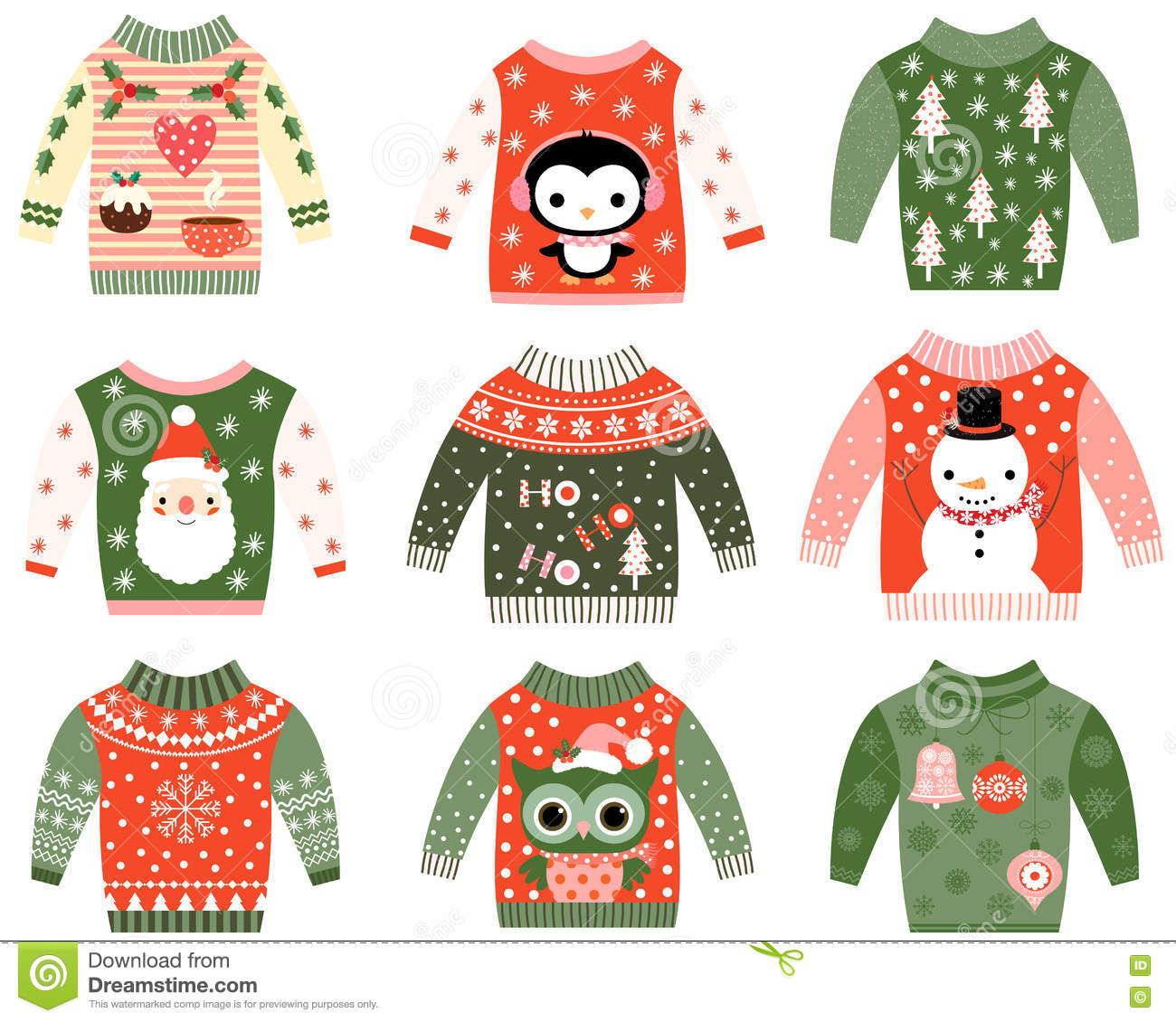 Cute Ugly Christmas Sweater Clip Art Stock Vector.