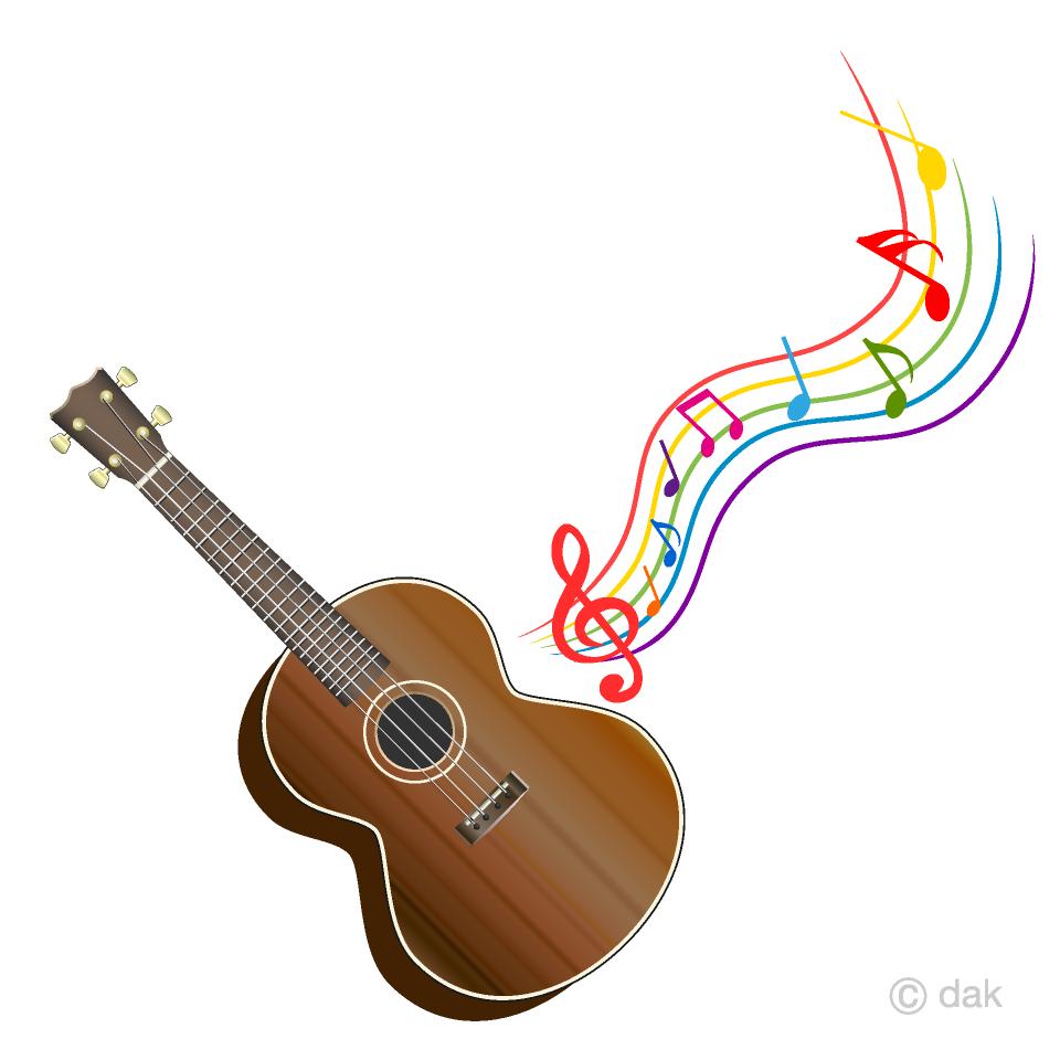 Free Ukulele and Colorful Music Note Clipart Image|Illustoon.